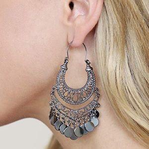 Hematite gypsy chandelier earrings